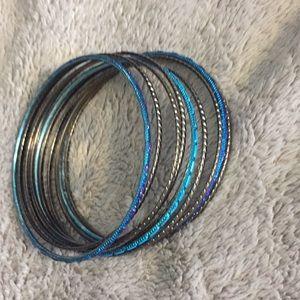 Jewelry - Gunmetal silver and blue bangle bracelets